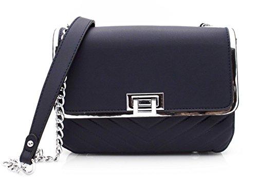 Hello Bag! - Sac en chaîne bandoulière - Rabat à bordures Argentés - Petit sac chaînes femme imitation cuir - Détails Argentés (Jaune Moutarde) Bleu