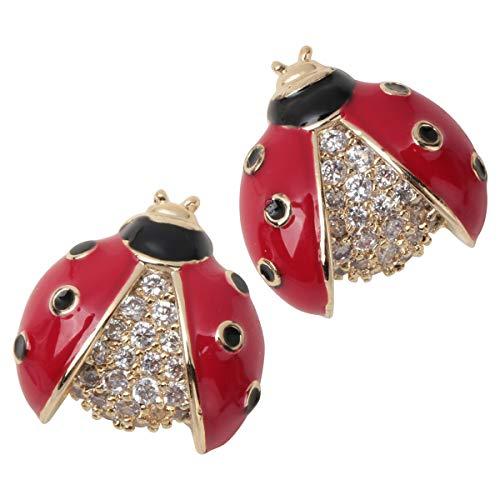 Ladybug Crystal - Angel Jewelry Women's Crystal Ladybug Stud Earrings Red