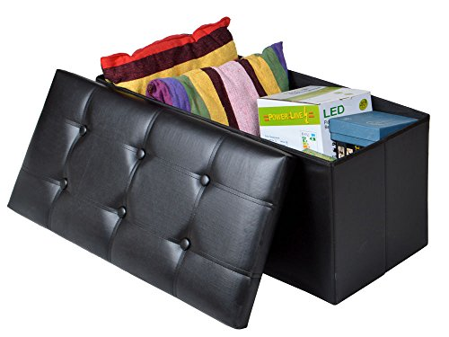Black Faux Leather Storage Foot Rest Sofa Ottoman Bench Fold