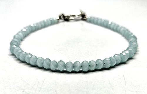 - Natural Aqua Chalcedony 3.5 mm 7 inch Faceted Beads Free Size Adjustable Bracelet
