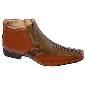 Alberto Fellini Mens Western Style Slip-on Side Zipper Brown patent-leather Cowboy Boots Size 7.5