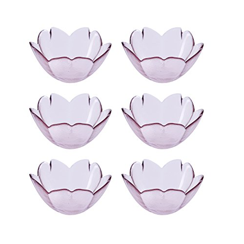 (WAIT FLY 6pcs Beautiful Purple Sakura Shaped Glass Seasoning Dishes/Tea Bag Holders/Ketchup Saucer/Appetizer Plates/ Salad Bowls,Household Holiday Mother's Day Christmas Gift for Friends)