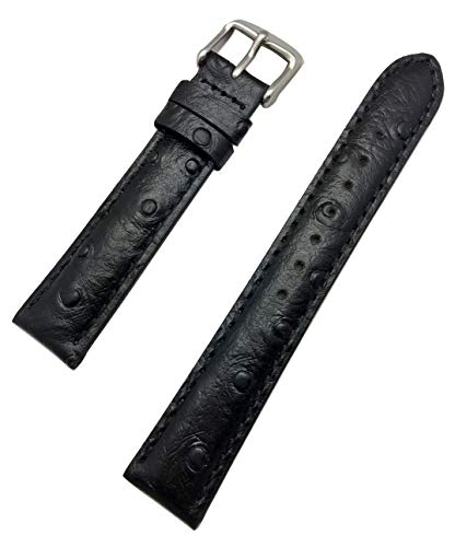 18mm Black Genuine Leather Watch Band | Beautiful Ostrich Grain, Medium Padded Replacement Wrist Strap That Brings New Life to Any Watch (Mens Standard Length)