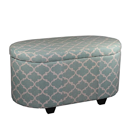 Ore International HB4561 2 Piece Clover Storage Ottoman, Moroccan, Teal Blue