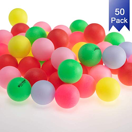 KEVENZ 50-Pack Beer Ping Pong Balls Assorted Color Plastic Table Tennis Ball]()