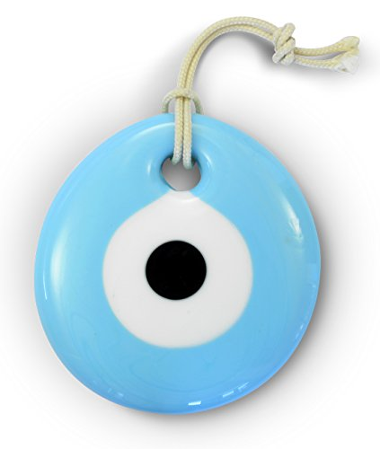 - Ebsem Exclusive Edition Handmade Evil Eye Turkish Greek Glass Charm Decorative Ornament for Good Luck, Success and Protection by (LIGHT BLUE, 2.5