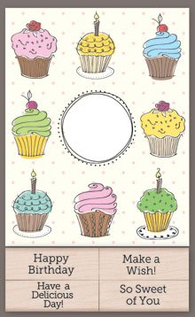 Hero Arts Cupcake (Hero Arts Add Your Message Cupcake Cards with Messages)