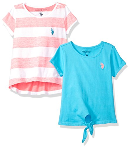 U.S. Polo Assn. Girls' Little 2 Pack Crew Neck T-Shirts, 1 Solid and 1 Striped, Multi, 6X