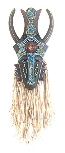 Lucky Tiki Mask (African Tribal Mask Wall Hanging PROTECTION AGAINST EVIL Tiki God - Embellished With Stones - OMA BRAND (Protection))