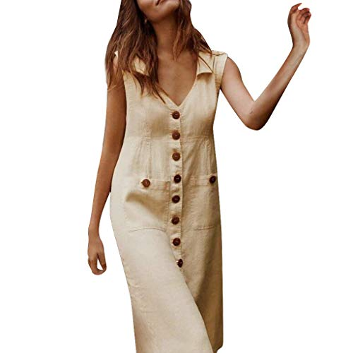 TIFENNY Linen Dresses for Women Summer Casual Solid with Buttons Single-Breasted Sleeveless Mid Dress V-Neck Khaki