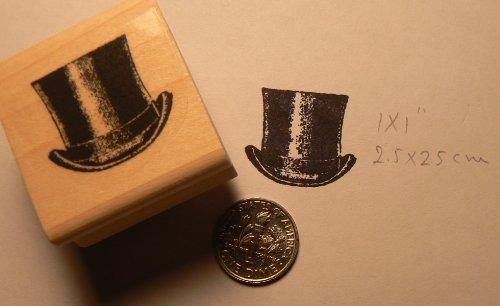 Top hat rubber stamp WM 1x1