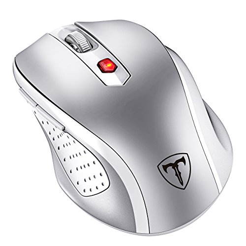 VicTsing MM057 2.4G Wireless Portable Mobile Mouse Optical Mice with USB Receiver, 5 Adjustable DPI Levels, 6 Buttons for Notebook, PC, Laptop, Computer, MacBook - Silver