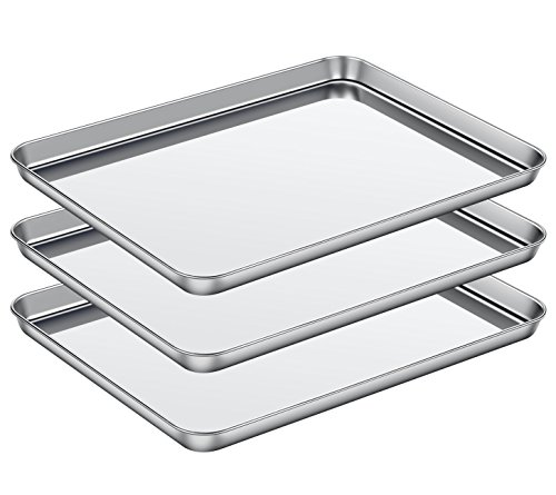 Baking Sheet Set of 3, ASEL Baking Pans 3 Pieces & Stainless Steel Cookie Sheets & Toaster Oven Tray Pans, Non Toxic & Healthy, Mirror & Easy Clean & Dishwasher Safe