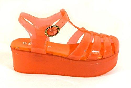 Damen Mädchen Kinder Niedrig-mittlerer Blockabsatz Gummi Jelly Gladiator ausgeschnitten Retro-Sandalen Schuhe Größe Orange (183-3)