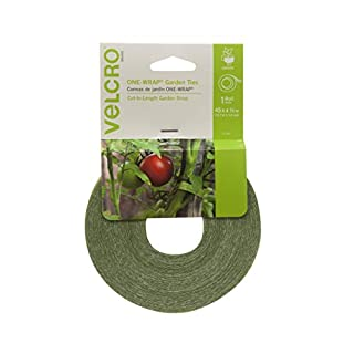 VELCRO Brand Plant Ties | 45 ft x 1/2 in Roll | Alternative to Twine, Reuse and Adjust with No Knots | Garden Tape has Strong Hold for Tomato and Vine Support | Green (91384)
