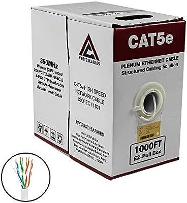 1000FT CAT5E PLENUM BULK CABLE 350MHz ETHERNET NETWORK WIRE  WHITE