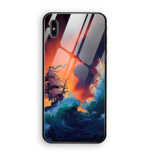Pirate Ship Drawing iPhone X Case Luxury Tempered Glass Back Cover with Soft TPU Bumper Frame Shock Absorption 360 Degree Full Protection