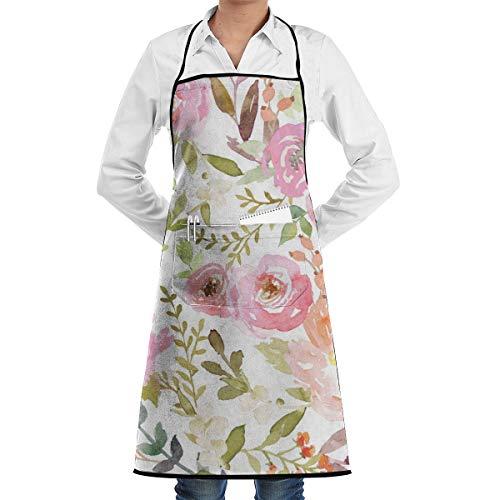 Mens Womens Bib Apron Watercolor Pastel Floral Pattern Professional Dacron Baking Apron for Women