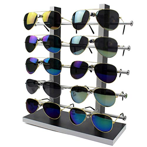 Wood Sunglass Glass Rack Frame Glasses Display Stand Holder Organizer - Metal Sunglasses Transparent