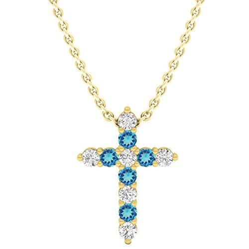 Dazzlingrock Collection 14K Round Blue Topaz & White Diamond Ladies Cross Pendant, Yellow Gold
