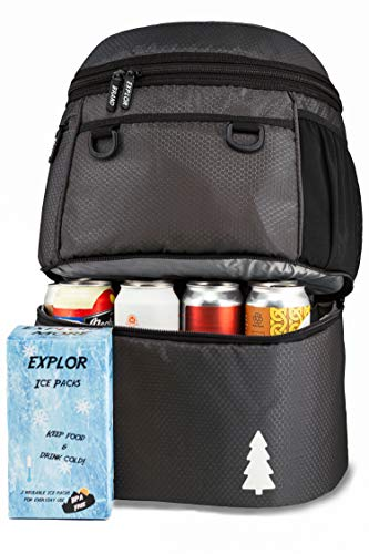 EXPLOR Insulated Cooler Backpack Double Deck Lightweight Leakproof Backpack Cooler Compartments for Drinks and Lunch, Soft Cooler Bag for Camping, Hiking, Picnic, Men, Women - 16 cans (Black)