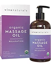 Certified Organic Massage Oil with Relaxing Lavender Scent, Perfect for Couples Massage and Stiff Muscle Relief, Works Great as a Body Oil (8 fl. oz.) (Scented)