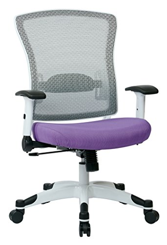 SPACE Seating Breathable Mesh Back and Padded Mesh Seat, Adjustable Arms, Tilt Tension and Lumbar Support with White Coated Nylon Frame Managers Chair, Violet ()