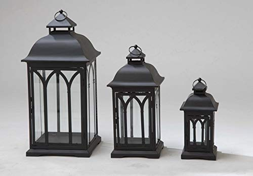 Pebble Lane Living ZD2014-GRY Lombard Indoor/Outdoor Candle Lanterns, Powder Coated Steel Frame & Tempered Glass Panes, Black, Assorted Set of 3 -