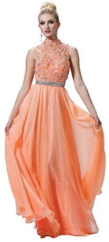 Meier Women's High Neck Embroidery Beaded Prom Evening Formal Dress Peach-14