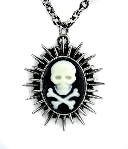 Sun Spikes Skull Cameo Necklace Death Cross Bones Chaos Star ()