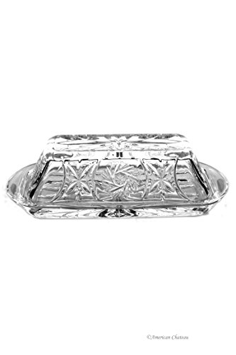 ree Crystal Pinwheel Design Covered 1/4 lb Bar Butter Dish ()