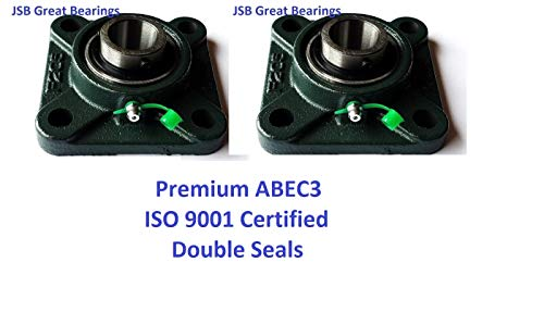 ((Qty.2) Premium UCF205-16 Double Seals ABEC3 Square Flange Bearings 1 bore UCF205-16)