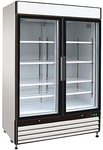 Cf Door Refrigerator Panels (Chef's Exclusive CE325 Commercial 2 Hinged Swing Double Glass Door Refrigerated Merchandiser Cooler Showcase LED Lights 48 Cubic Feet 8 Adjustable Shelves Digital Controller Locks, 54 Inch Wide, White)