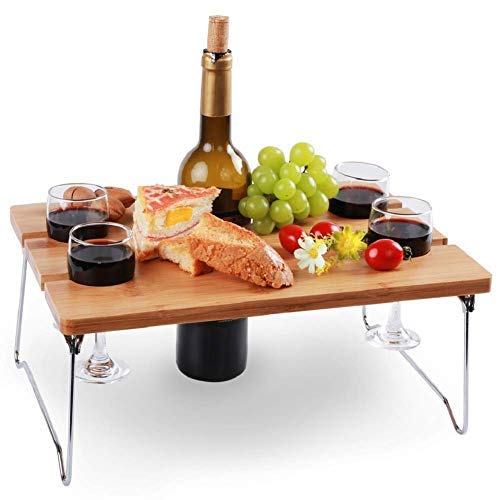 INNO STAGE Portable and Foldable Wine and Snack Table for Picnic Outdoor on The Beach Park or Indoor Bed for 2,4 or 6 (WL 4 Positions)