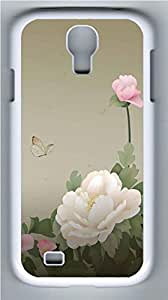 Galaxy S4 Case, Personalized Protective Hard PC White Edge Peony Case Cover for Samsung Galaxy S4 wangjiang maoyi