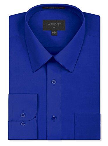 Ward St Men's Regular Fit Dress Shirts, Large, 16-16.5N 32/33S, Royal Blue