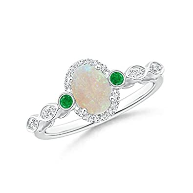 Angara Oval Opal and Diamond Halo Ring with Bezel-Set Emerald in White Gold ydNruUp9Z