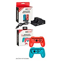 Switch Accessories Joy-Con Charging Dock - 4-in-1 Controller Holder Station with 2 Black Grips by EVORETRO
