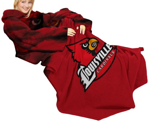NCAA Louisville Cardinals Comfy Throw Blanket with Sleeves, Smoke Design