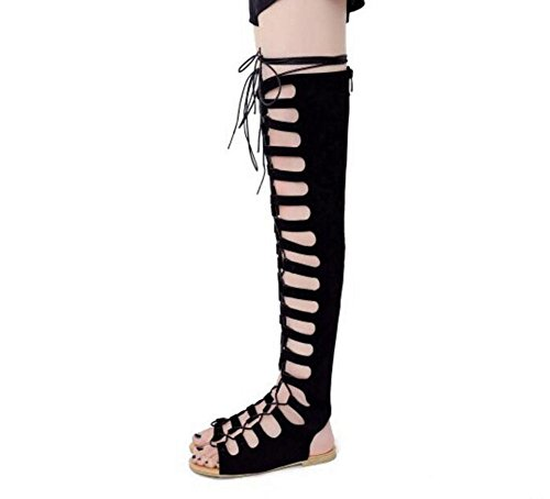 GLTER Frauen Knie Lange Tube Sandalen Pumps Cross Straps Boot Schwarz , black , 39