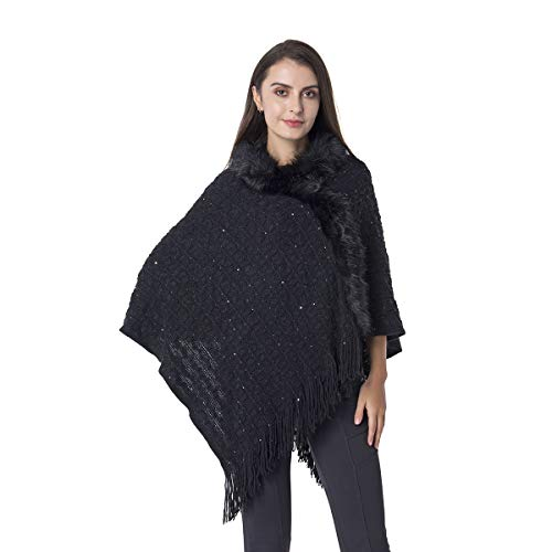 Scarf Black Sequin Knitted Faux Fur Poncho Bathing Swimsuit Beach Cover Ups for Women with Fringes Acrylic