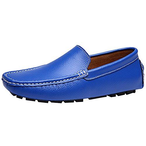 Rismart Heren Zachte Split Grain Leer Rijden Loafer Schoenen Comfortabele Mocassins Slippers Bootschoenen Royalblue Sn9100 Us8
