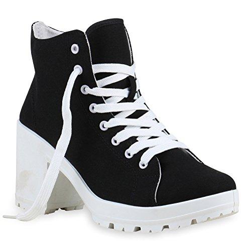 Stiefelparadies Damen Schnürstiefeletten Stoffschuhe Profilsohle Blumen Ankle Boots Stiefeletten Flandell Schwarz Weiß