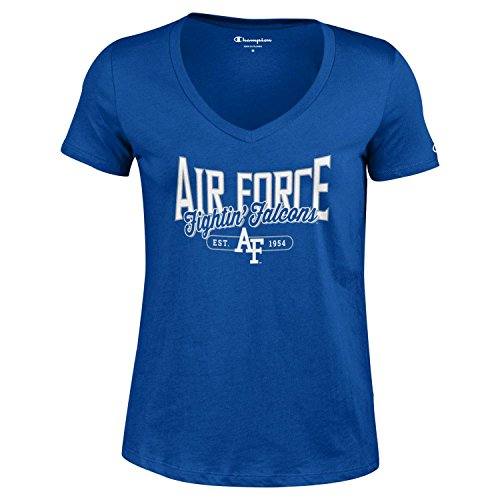 Champion NCAA Women's University Short Sleeve Tagless Lady's V-Neck Tee, Air Force Falcons, Small