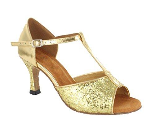 Tda Womens Peep Toe T-strap Glitter Sintetico Tango Sala Da Ballo Salsa Latino Ballo Scarpe Da Sposa Oro-7,5 Centimetri Tacco