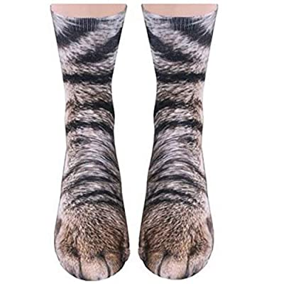Cat Fan related Products Animal Paws Socks, NDLBS Unisex Adult Novelty Animal Socks Funny Paw Crew Socks for men women [tag]