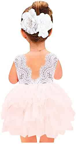2Bunnies Girl Baby Girl Beaded Backless Lace Back A-Line Tutu Tulle Party Flower Girl Dress