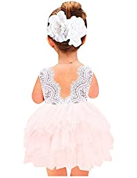 Girl Baby Girl Beaded Backless Lace Back A-Line Tutu...