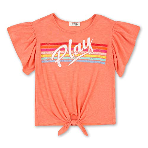 - Speechless Girls' Big Tie Front Flutter Sleeve Top, New Coral S