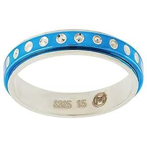 Aurora Women's Silver Blue and Silver Dubla Ring